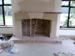 Large Tudor Limestone Fireplace in Guildford