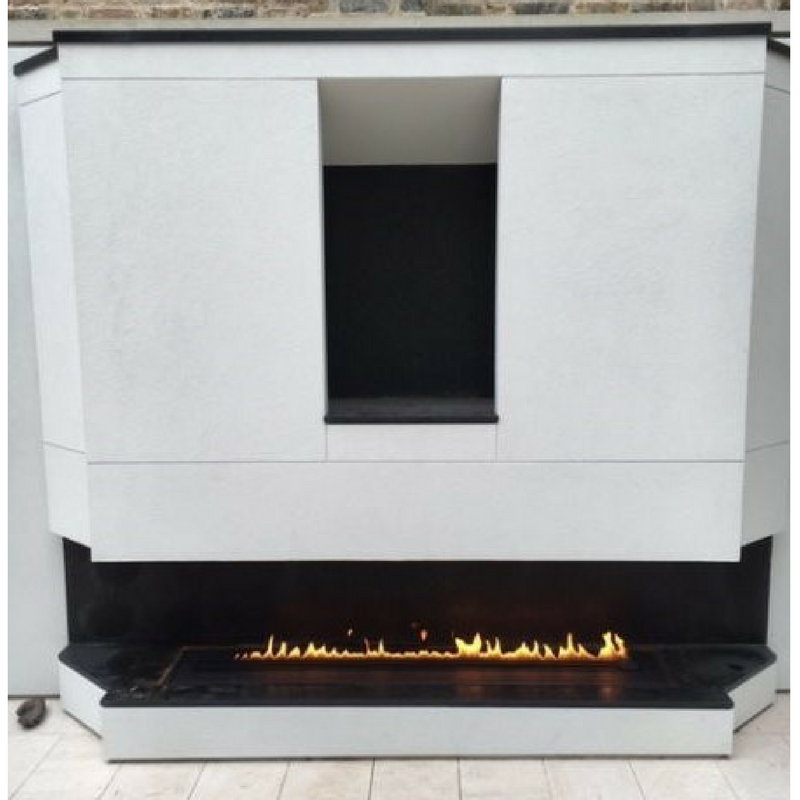 Contemporary outdoor gas fireplace